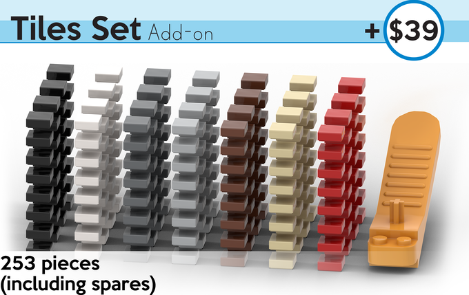 Replace exposed studs on your chess board with smooth tiles for the most beautiful and streamline presentation piece! A handy brick-separator tool is included to make swapping plates and tiles easy. All pieces are authentic LEGO, sourced brand new.
