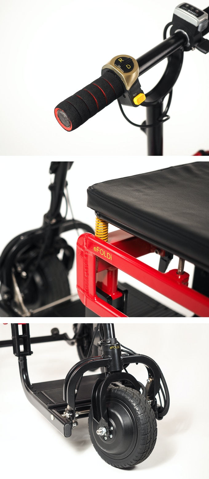Closeup of the Push Button Switch, High-Density Cushioned Seat & Front Wheel