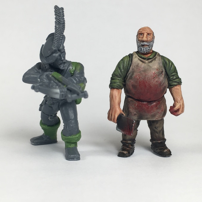 Size comparison against a Games Workshop Empire Militia / Free company model