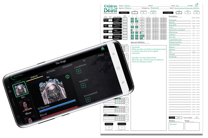 Use the optional companion app to streamline your game!