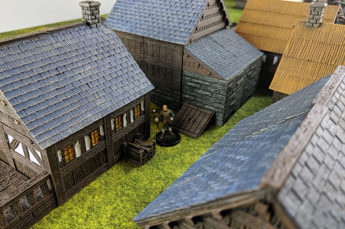A small town featuring different roof styles.