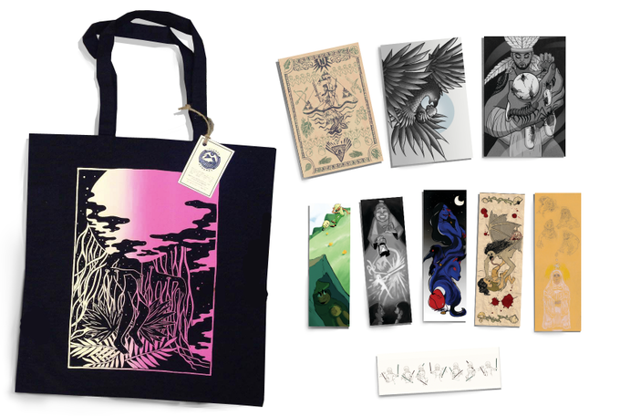 A tote bag! Postcards! bookmarks!