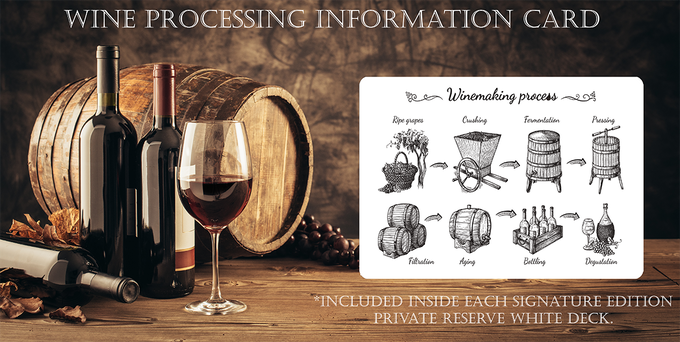 Court Card illustrations for the suit of Diamonds and Clubs will feature illustrations of the processes of wine making. (See pic for examples).
