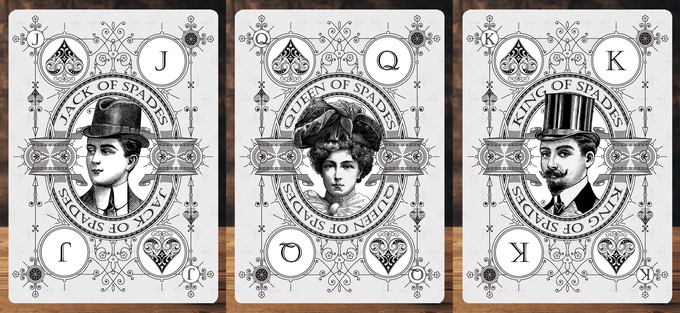Court card illustrations for the suit of Spades (These court cards will feature in the Signature Edition Private Reserve White Decks)