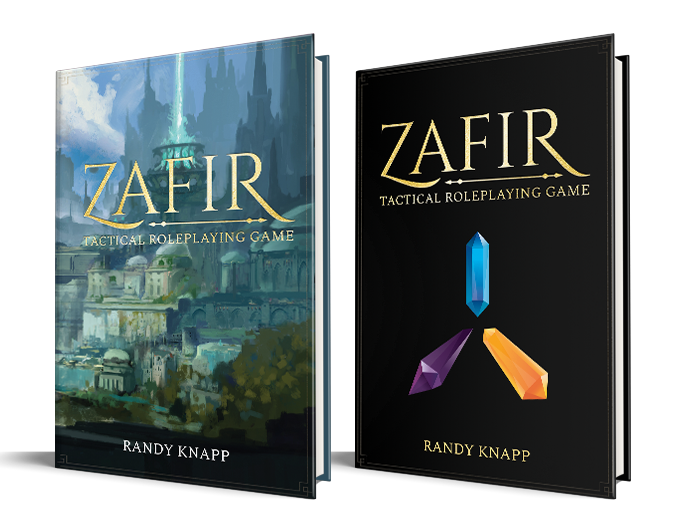 Zafir: Tactical Roleplaying Game Rulebook (left), Kickstarter-Exclusive Special Edition (right)