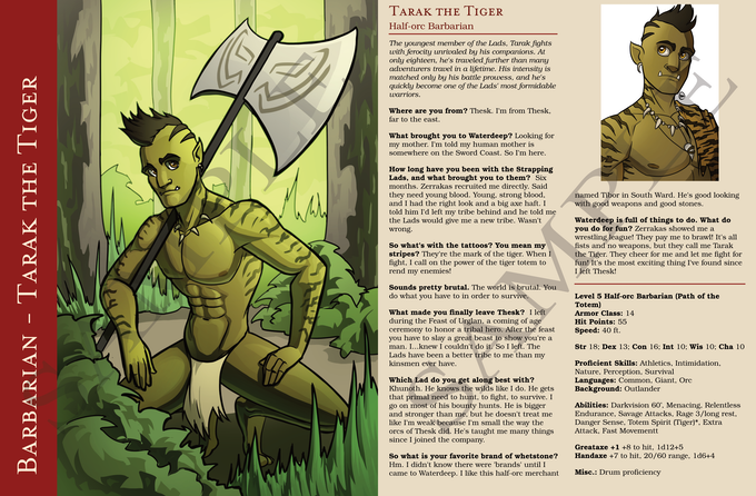 Sample character spread - Final product may look different