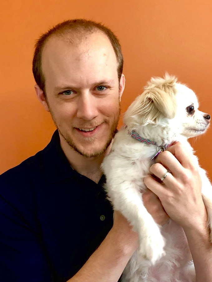 Collin (above) with his actual dog, Shelley
