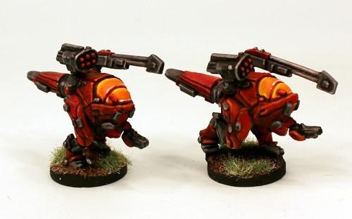 Chuhuac battlesuits. These battlesuits come with a number of weapon options and are designed for their dinosaur-oid pilots.