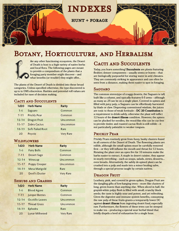 An example of the backmatter material—this one is the first page of the herbalism system!