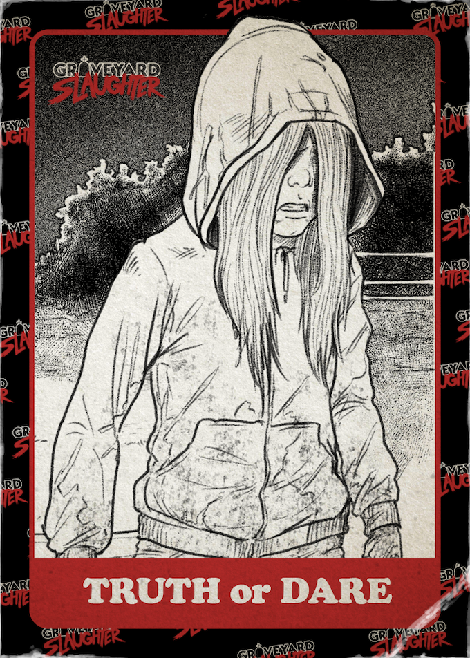 Exclusive Blacky Shepherd Graveyard Slaughter Creepy Girl Trading Card (front)