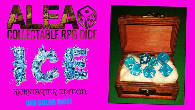 REWARD 001: RPG dice set ICE EDITION (with ice color dice) + custom wooden coffer with metal lock