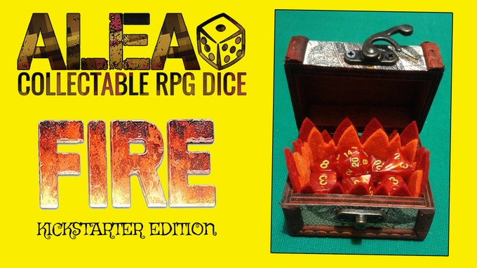 REWARD 002: RPG dice set FIRE EDITION + custom wooden coffer with metal lock