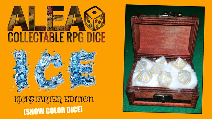 REWARD 003: RPG dice set ICE EDITION (with snow color dice) + custom wooden coffer with metal lock