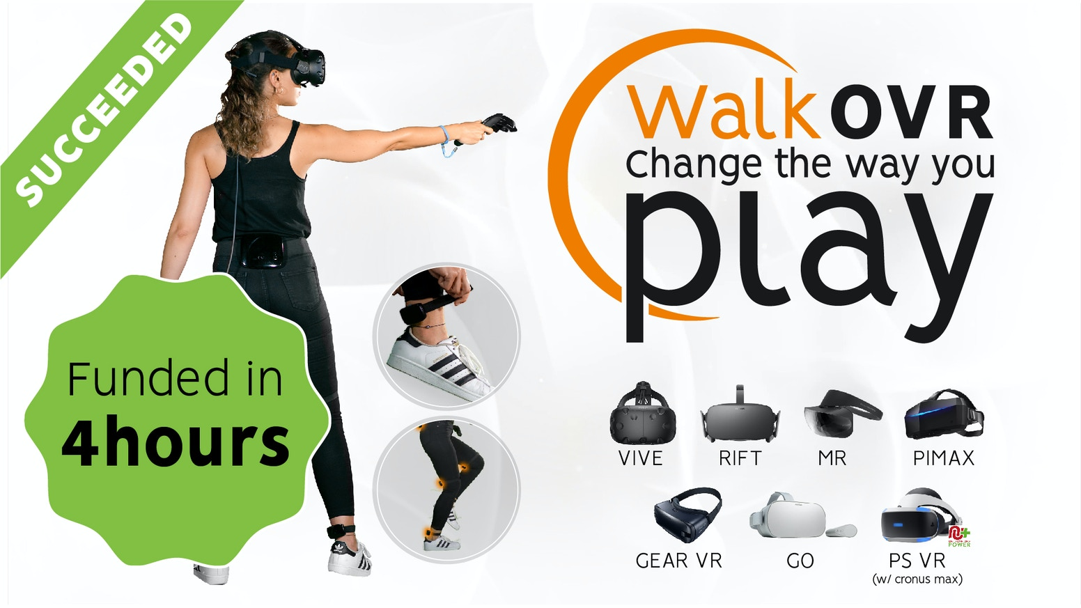 WalkOVR is a Wearable Motion System that Lets VR Users Physically Move in VR Environments and Games.