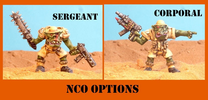 Each NCO is supplied with three head options