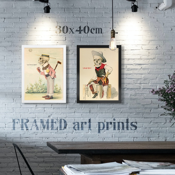 Framed Art Prints ( here: 30x40cm ) in white or black Alder, semi-hardwood frame with Acrylite front protector!