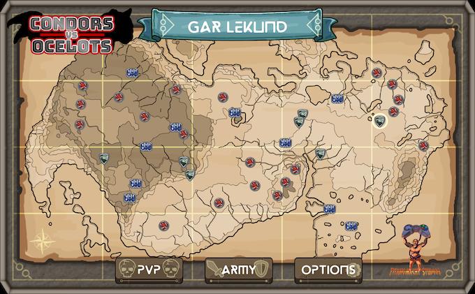 Condors Vs Ocelots World Map with level nodes