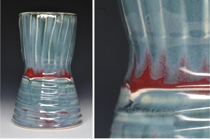 "Tall Vase With Slip Texture 9"" x 6""  $50"