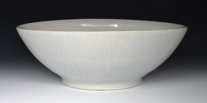 "Large Serving Bowl With Slip Texture 12"" x 5""  $60"