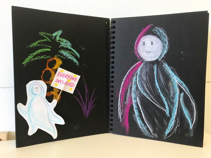 A glimpse into the rehearsal process - design sketchbook by puppet designer, Alicia.