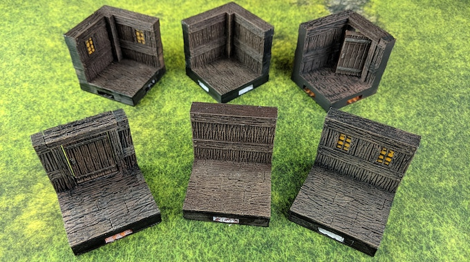 Wood Wall Set pictured with wood floor. All pieces come with stone floor version.
