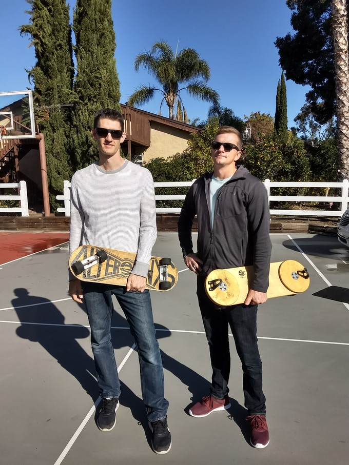 Lance (left) with his original 1994 board and Shane (right) with a new demo board