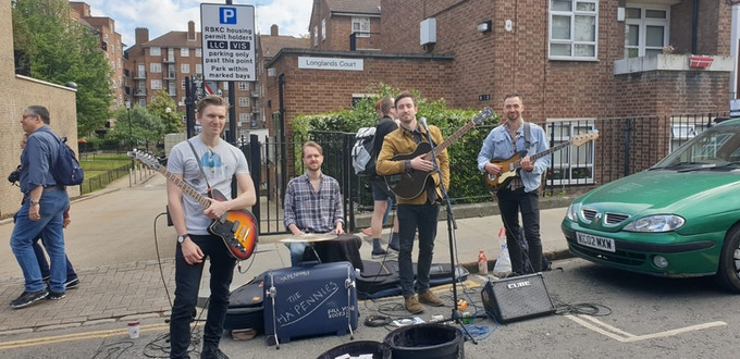 Busking in Portobello Market (all money goes towards the band!)