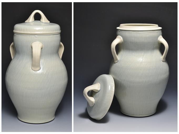 "Large 2-Piece Jar With Slip Texture  14"" x 7""  $100"