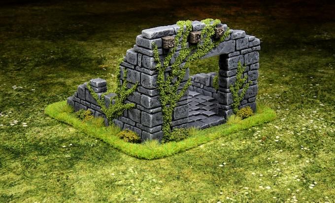 Medium ruined building, Based & flocked green version
