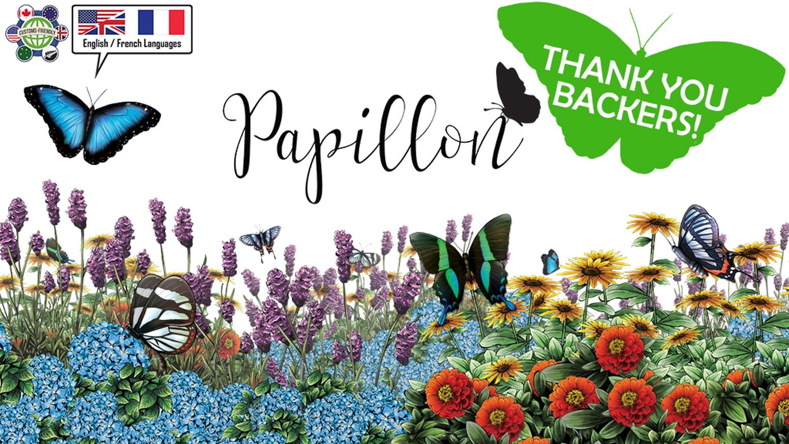 Grow a beautiful garden complete with 3D flowers, and vibrant butterflies in Papillon, a tabletop game for 2-4 Players!