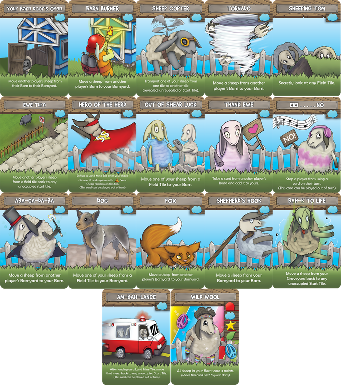 Blue background cards are shown above. There are also red, green and yellow variants of each card. The icons on the cards are used to identify each player color.