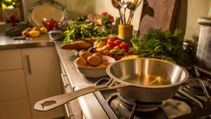 """The amazing 8"""" nöni USA Sauté pan - our most popular nöni pan there, and being launched here for manufacture in Oz. Deep for a skillet. Shallow for a saucepan. Excellent in both roles!"""