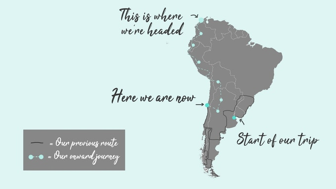 You can see our previous route and our onward journey from our current location on this graphic. Before the completion of our film we want to visit the following countries: Bolivia, Peru, Ecuador and Colombia.