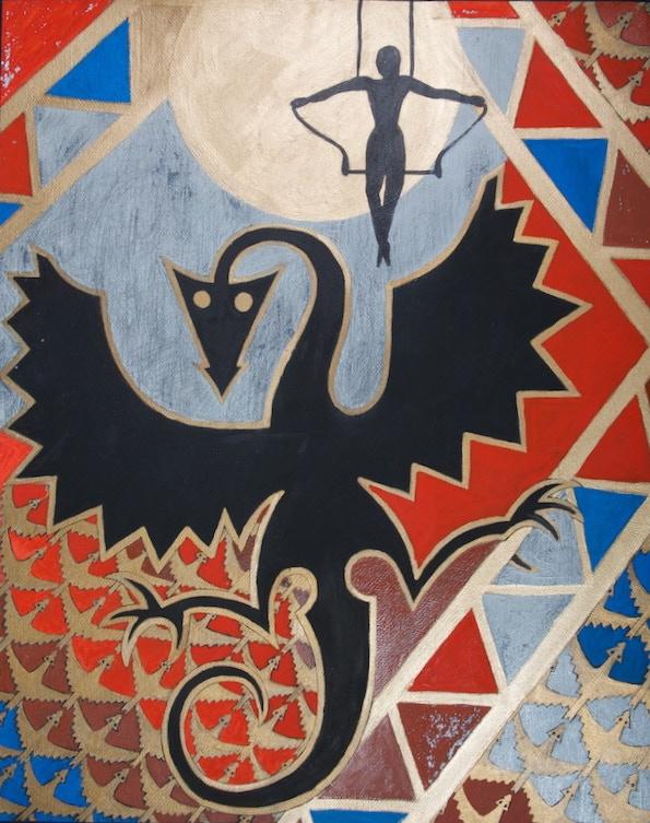 Art Postcard 'Trapeze Dreaming (Dragon)' by Cathie Sprague