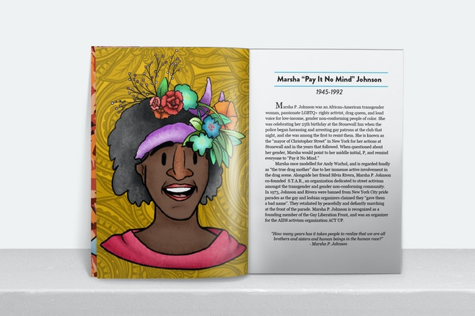 Mock-up of page spread featuring the illustration & story of Marsha P. Johnson
