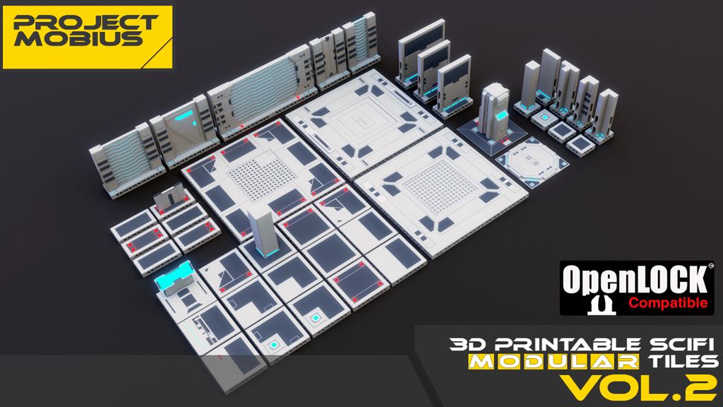 Project image for 3D Printable SciFi OpenLOCK Compatible Tiles for Gaming Vol2