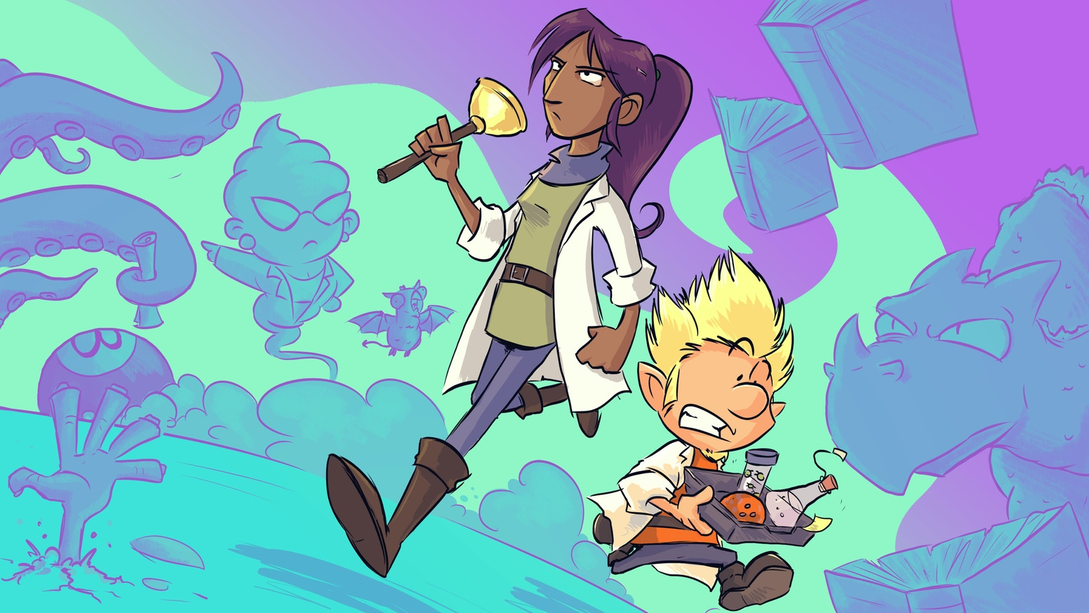 An inclusive fantasy comic about the fun misadventures of two technicians at a school for young knights & mages -with a dash of romance. Solidarity with the employees of kickstarter and their efforts to unionise.
