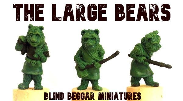 The Large Bears: Approx height to top of head; Club 36mm, Bow 37mm, Spear 34mm