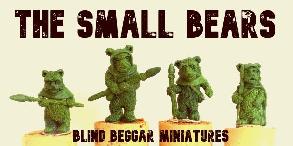 The Small Bears. Height to top of head L-R 26mm, 30mm, 25mm, 25mm,
