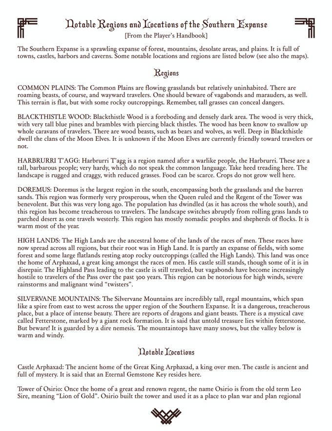Page sample from the Player's Handbook (The GM Handbook goes further in-depth on regions and locations)