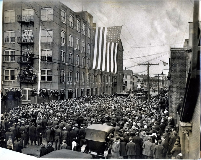 Armistace Day outside Clock Factory, 1918