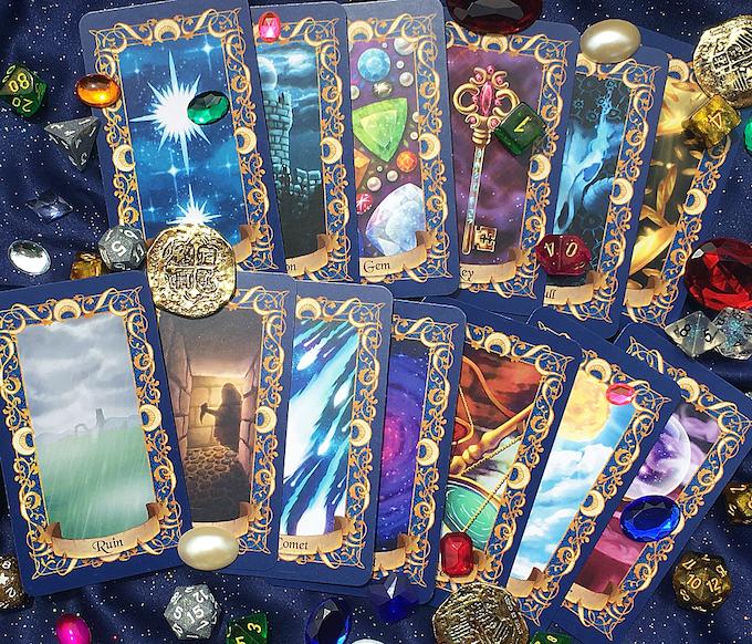 Top Row: Star, Donjon, Gem, Key, Skull, Fool. Bottom Row: Ruin, Rogue, Comet, The Void, Balance, Sun, Vizier.