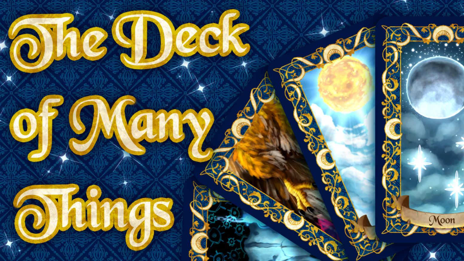 The Deck of Many Things come to life with vibrant, colorful artwork and a mysterious aesthetic. PreOrders close on September 2nd, 2019!
