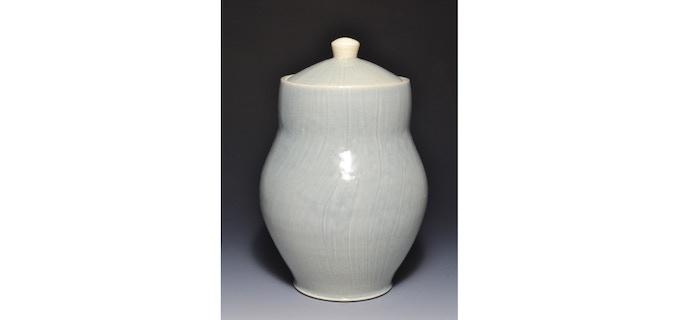 "Large Storage Jar with Slip Texture  10"" x 6""  $70"
