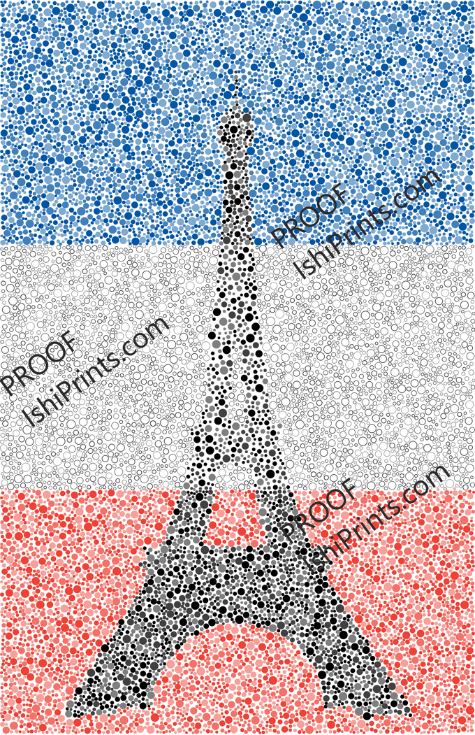 """""""Ishihara Eiffel Tower"""" by Jonathan Jacesko (2019); available in 11""""x17"""" or 24""""x36""""."""