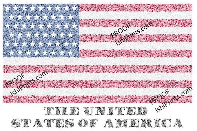 """""""Stars & Stripes & Ishihara"""" by Jonathan Jacesko (2019).  Available as a 24""""x36"""" poster."""