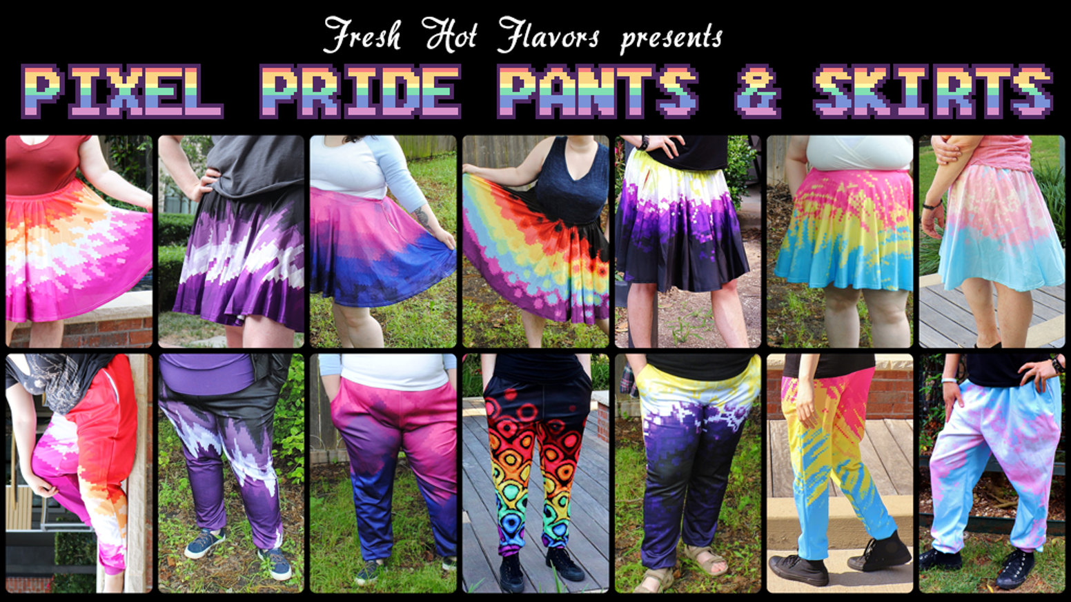 A line of jogger-style pants and circle skirts with LGBT+ flag-inspired designs that fit a variety of body types.