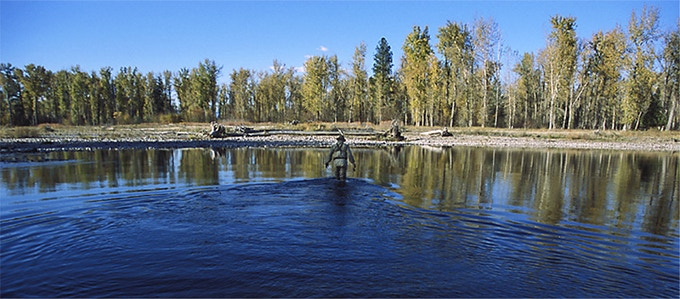 David James Duncan at home on a Montana river. Photo by Yogesh Simpson