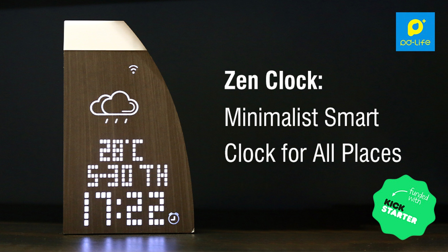 A minimalist smart clock that displays time, date and weather info while making any place look good