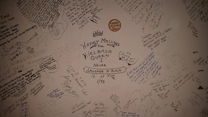 Just a small part of the infamous feature stripper's dressing room wall, where dancers would leave messages to other dancers right on the wall.